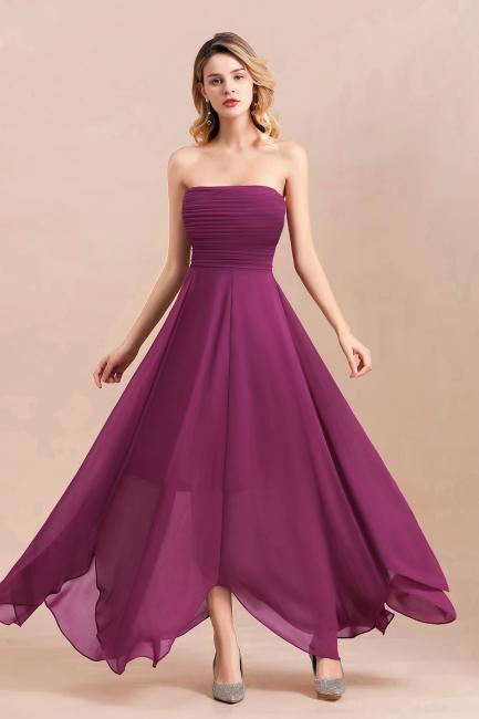 Purpur Brautjungfernkleider Günstig   Chiffon Kleider für Brautjungfern