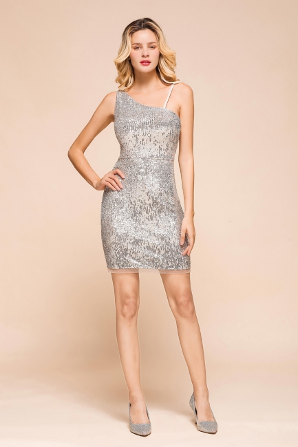 Silver Cocktail Dresses Short | Prom dresses with glitter