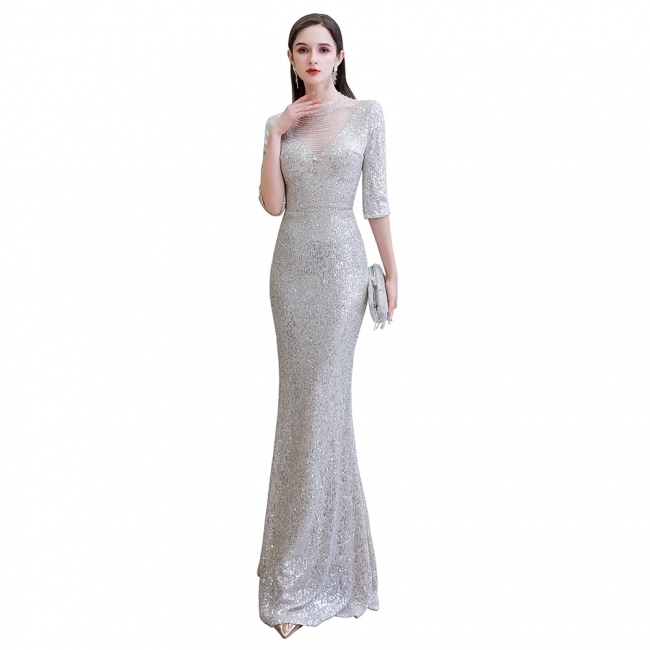 Long glitter prom dresses | Evening dresses with sleeves