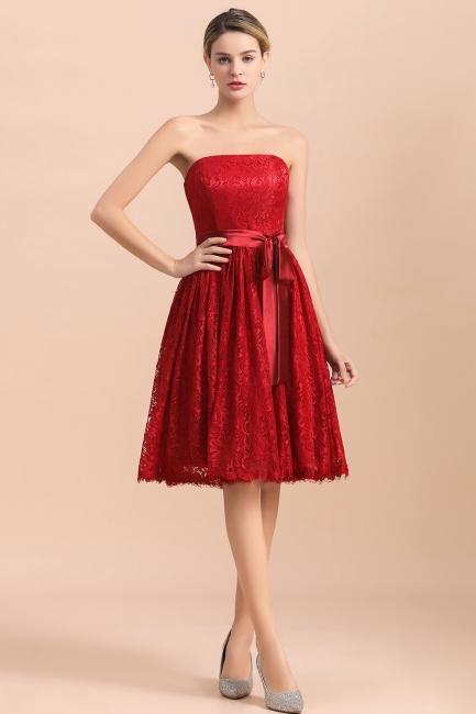 Rote Brautjungfernkleider Kurz   Günstiges Brautjungfernkleid