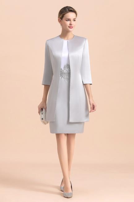 2 Teilige Brautmutterkleider Kurz | Silber Brautmutterkleid Mit Jacket