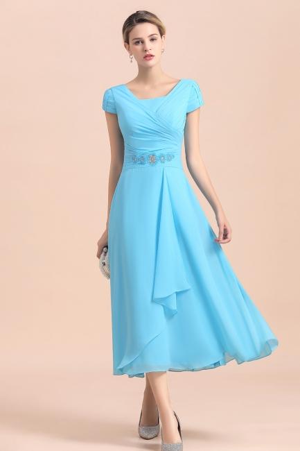 Günstige Brautmutterkleider Kurz Blau   Chiffon Kleider Günstig