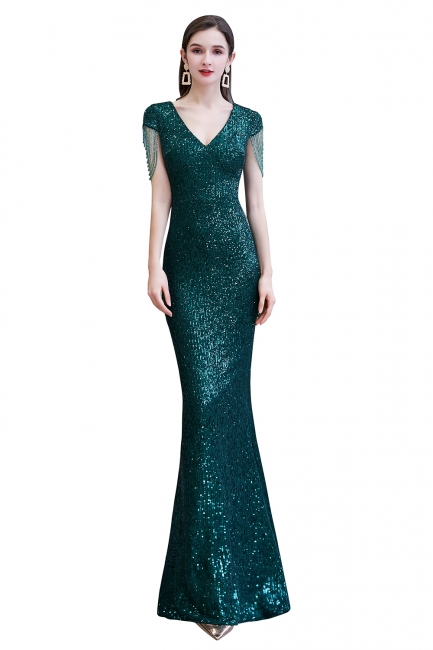 Elegant prom dresses long glitter | Evening dresses green
