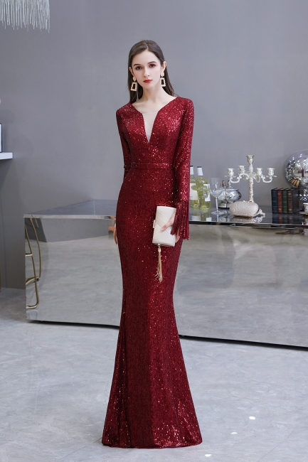 Evening dress red | Long glitter prom dresses with sleeves