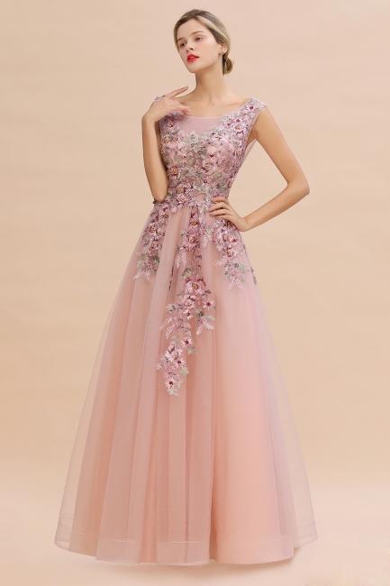Evening dress long pink V neckline | Prom dresses cheap