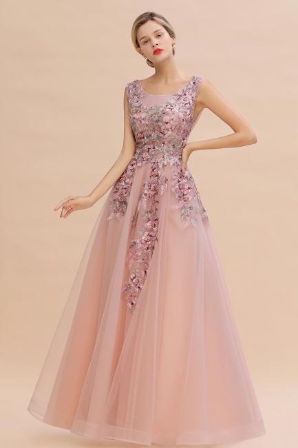 Abendkleid Lang Rosa V Ausschnitt   Abschlussballkleider Günstig