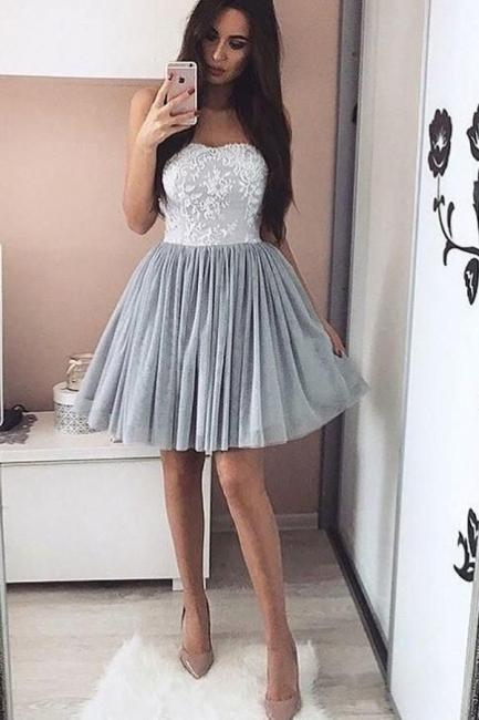 Cheap Cocktail Dresses Gray Short A Line Lace Evening Dress Party Dresses