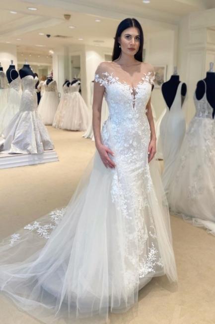 Elegante Brautkleid Meerjungfrau | Günstig Hochzeitskleider mit Spitze