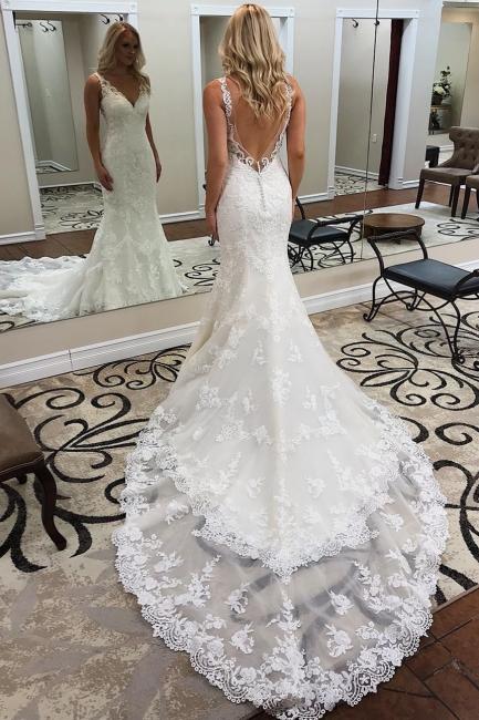 Designer wedding dress mermaid | Backless lace wedding dresses