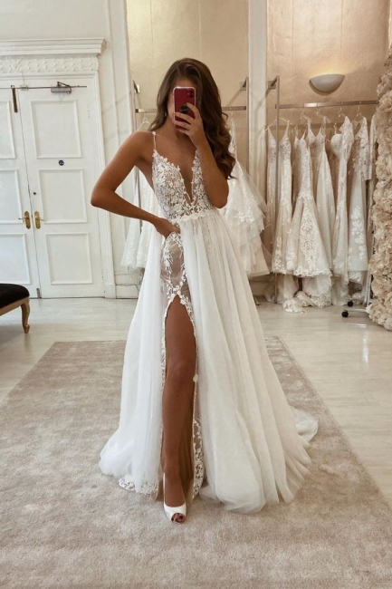 Sexy wedding dresses A line | Gorgeous wedding dress with lace