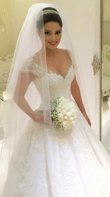 Modern Wedding Dresses White With Lace A Line Beaded Tulle Bridal Wedding Dresses