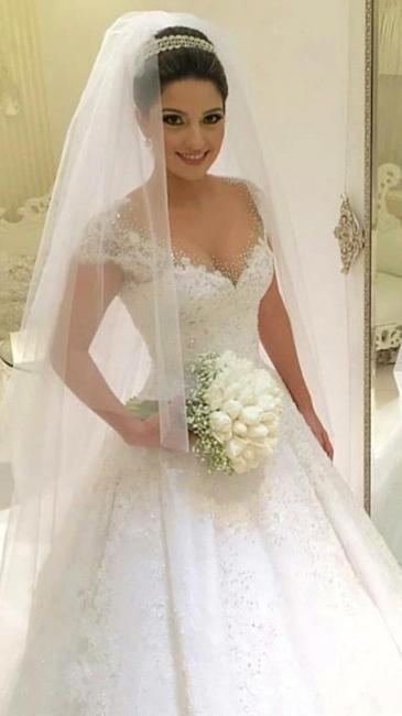 Modern Brautkleider Weiß MIt Spitze A Linie Perlen Tüll Brautmoden Hochzeitskleider