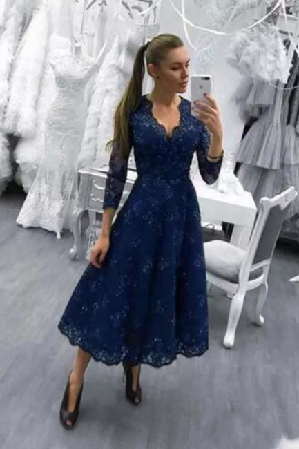 Cheap Cocktail Dresses Short With Sleeves A Line Lace Dress Prom Dresses