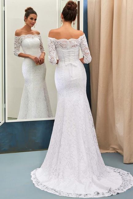 Cheap Long Sleeve Lace Mermaid Wedding Dress Online