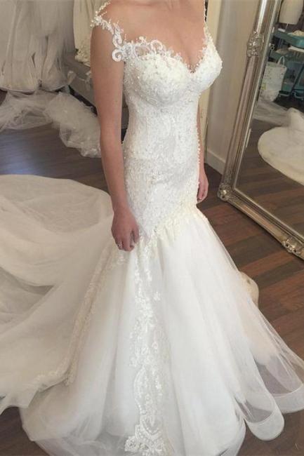 Made to measure wedding dresses white lace mermaid straps wedding fashions bridal fashions