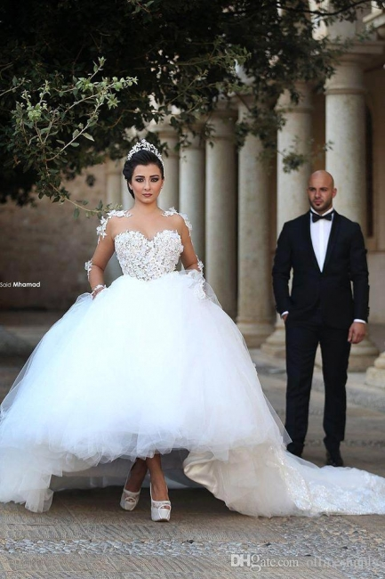 Designer wedding dress with sleeves | Princess wedding dress with lace