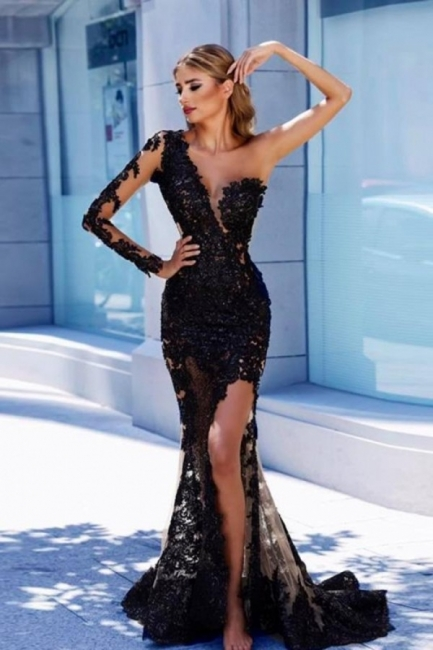 Black Evening Dresses Long Cheap Lace Prom Dresses With Sleeves Cheap