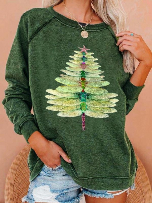 Dragonfly Christmas Tree Sweetshirt | Christmas sweater women green