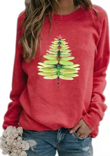 Sweater dragonfly Christmas tree   Christmas sweater women