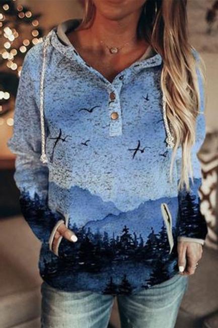 Blue 3D Print Hoodie | Sweatshirt sweater