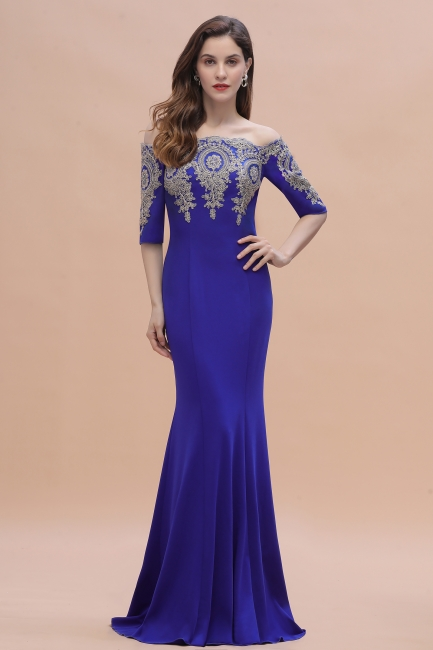 Designer Evening Dresses With Sleeves | King Blue Prom Dresses Long