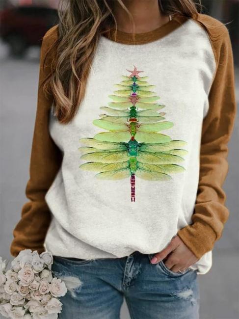 Sweatshirt dragonfly Christmas tree | Christmas sweater women