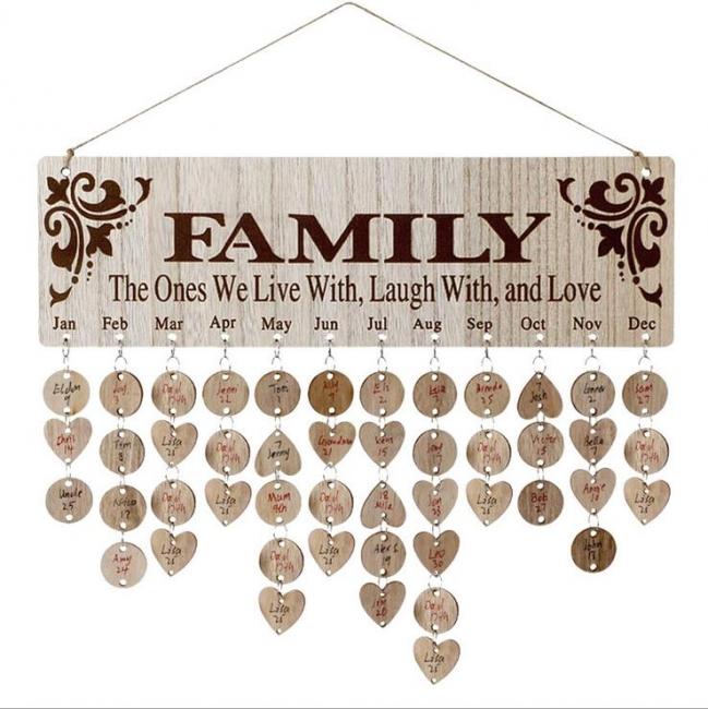 Geschenke für Mütter Väter - Holz Familie Geburtstag Weihnachten Erinnerung Kalender Board