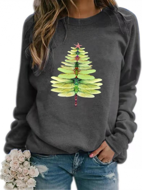 Sweater dragonfly Christmas tree | Christmas sweater women