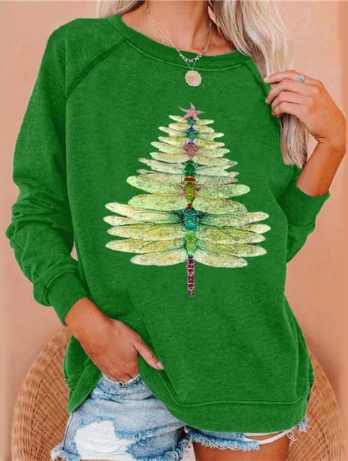 Libelle Weihnachtenbaum Pullover Grün   Weihnachtspullover Damen
