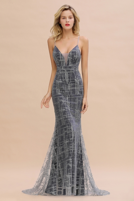 Silver evening dress with lace | Prom dresses long cheap
