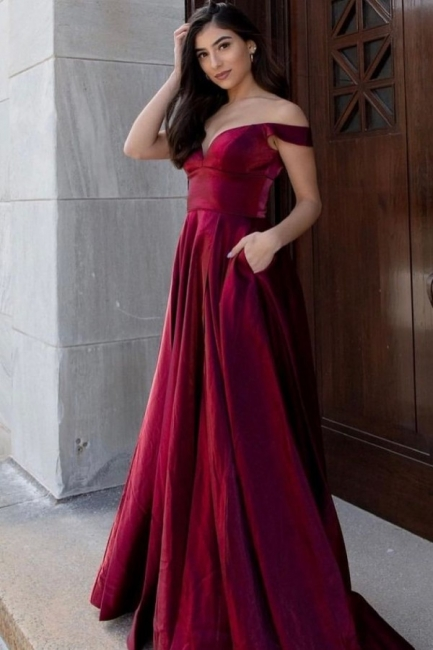 Simple evening dresses long cheap | Red evening wear ladies