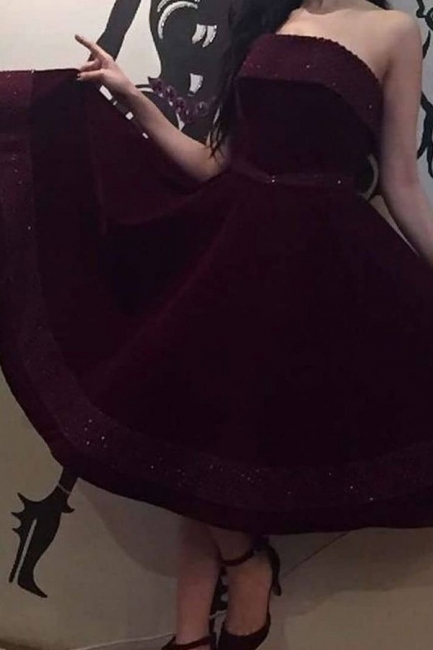 Wine red cocktail dresses short | Evening dresses velvet