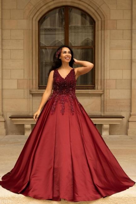 Red wedding dresses V neckline | Wedding dress A line lace