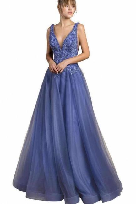Designer Evening Dresses Long Blue | Prom dresses with lace