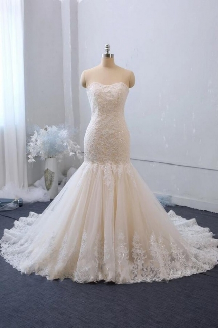 Elegant mermaid lace wedding dress | Wedding dresses cheap