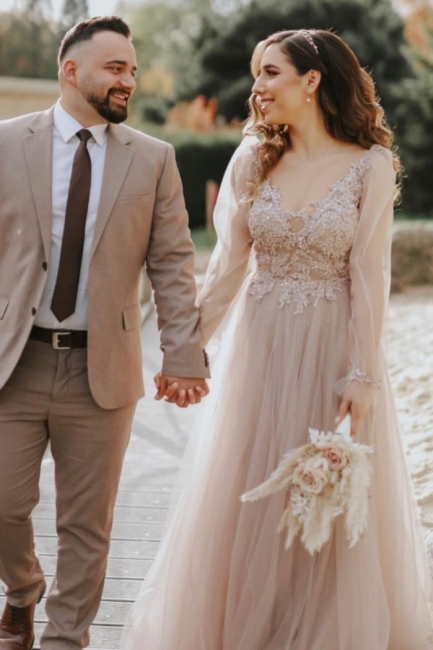 Modern wedding dresses with sleeves | Wedding dress tulle