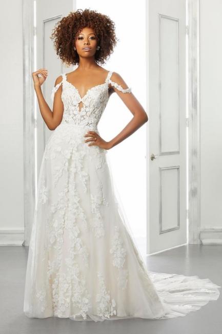 Boho wedding dress lace | Simple wedding dress A line