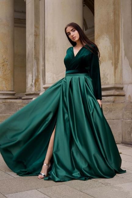 Grünes Abendkleid Lang V Ausschnitt | Abiballkleider mit Ärmel