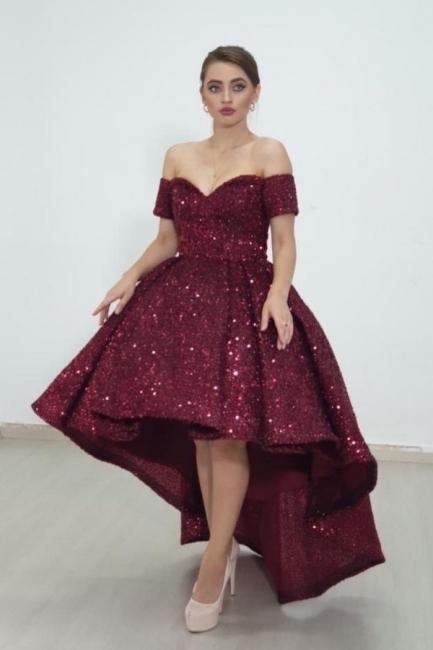 Designer prom dresses glitter | Red cocktail dresses front short long back