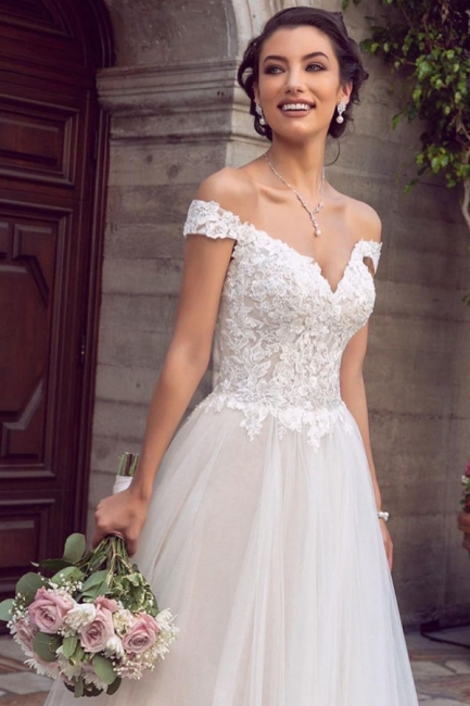 Boho Wedding Dress A Line With Lace | Wedding tulle online