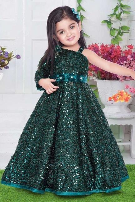 Green Flower Girl Dresses Cheap | Wedding party dresses glitter