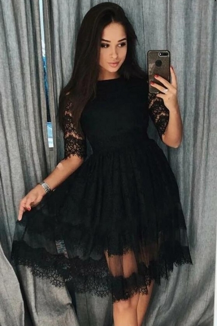 Cocktail dresses short black | Evening dresses with sleeves