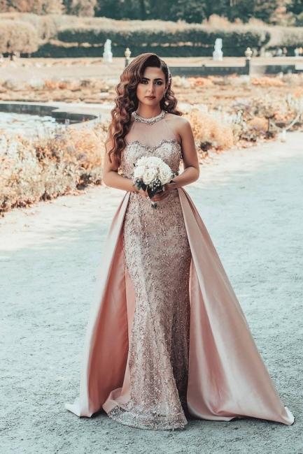 Designer evening dress long pink | Evening dresses lace