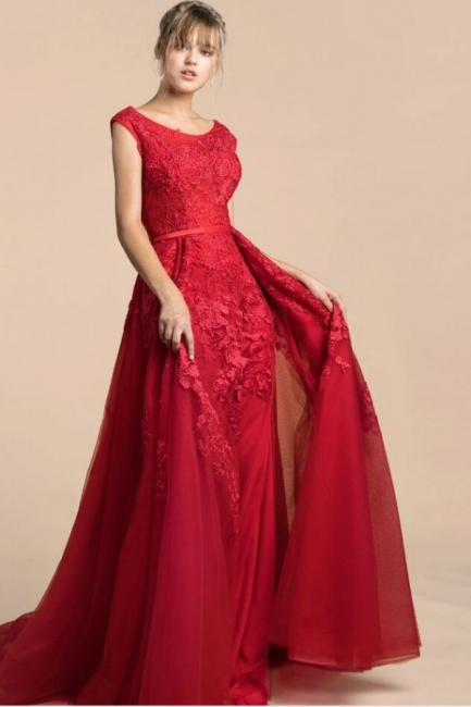 Red Evening Dresses Long Cheap | Prom dress lace online
