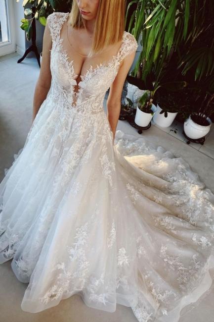 Hochzeitskleid Standesamt | Brautkleid A Linie Mit Spitze