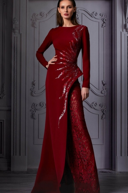 Evening dresses long glitter wine red | Prom dress with sleeves