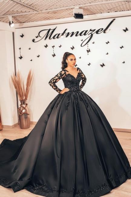 Schwarze Brautkleider mit Ärmel | Prinzessin Hochzeitskleider Spitze