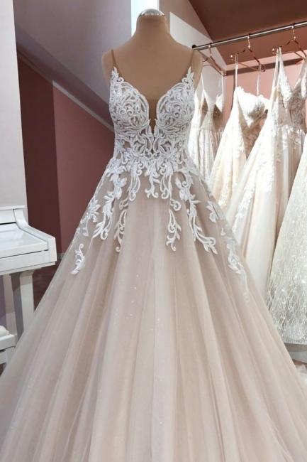 Designer Hochzeitskleider A Linie | Brautkleid V Ausschnitt Spitze