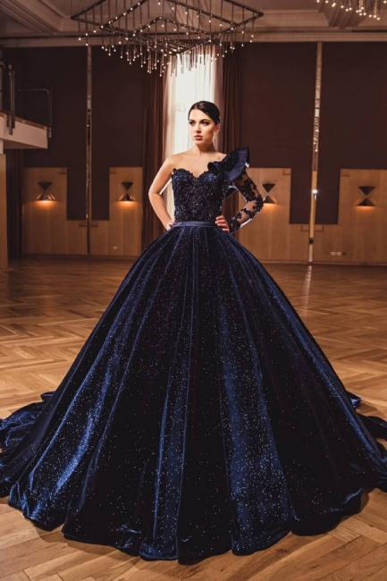Princess Evening Dresses With Sleeves | Long glitter prom dresses