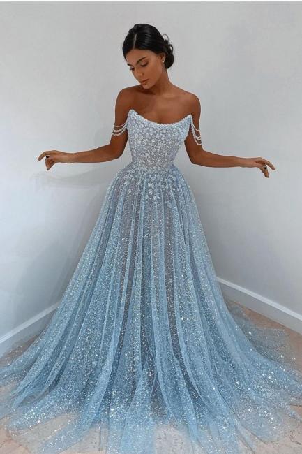 Elegant evening dress light blue | Evening dresses long cheap